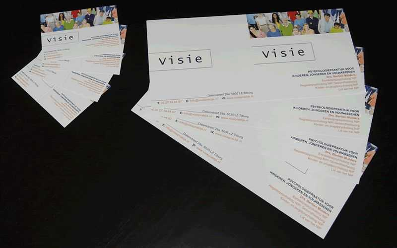 Folder drukwerk visitekaartjes voor Visie