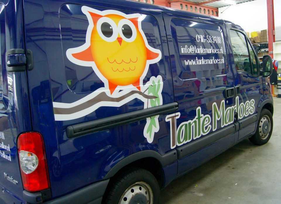 Bedrijfsbus belettering Tante Marloes