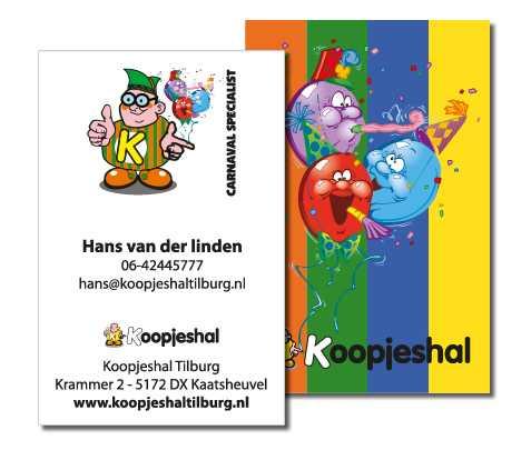 Koopjeshal carnavalsspecvialist Tilburg visitekaartjes Sign-People