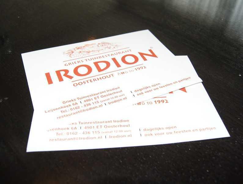 Drukwerk Irodion visitekaartje
