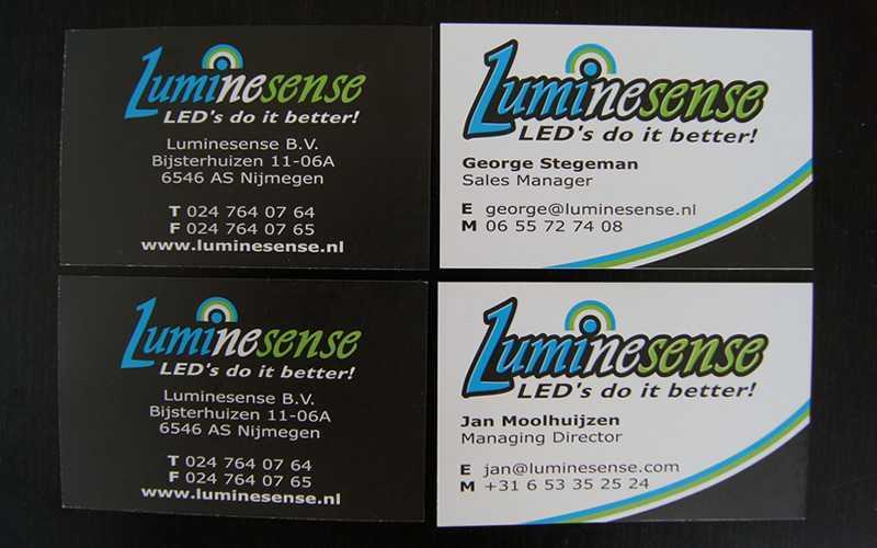 Luminesense visitekaartjes ontwerpen en drukken
