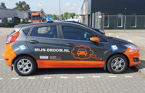 Auto reclame belettering Mijn Droom.nl