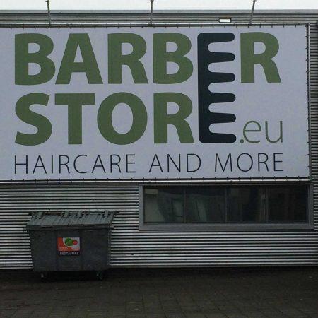 Spandoek en frame voor Barberstore.eu