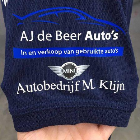 Blauwe trui met logo bedrukt
