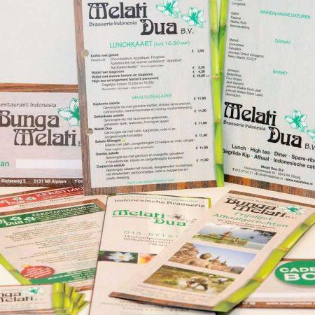 Promo menu kaart bedrukken printen met logo tekst bedrijf