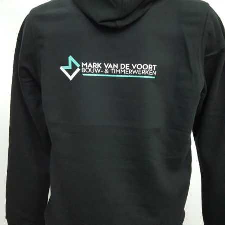 Bouw kleding jas met logo en tekst bedrukken