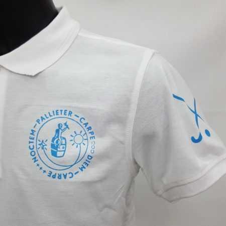 Witte polo met logo Pallieter