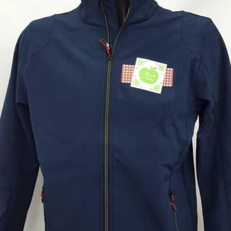 Bedrukte blauwe jas met logo