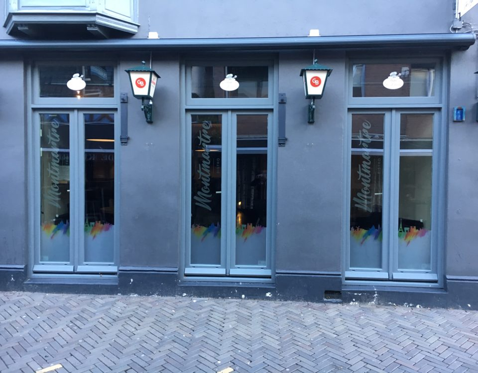 Restaurant Mont Martre Oosterhout reclame raamfolie